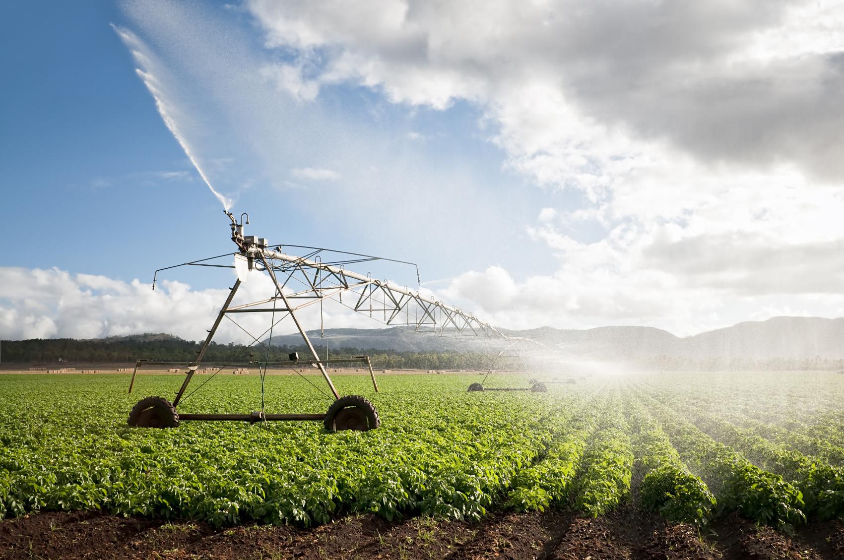 An irrigation machine on a potato field in Australia.