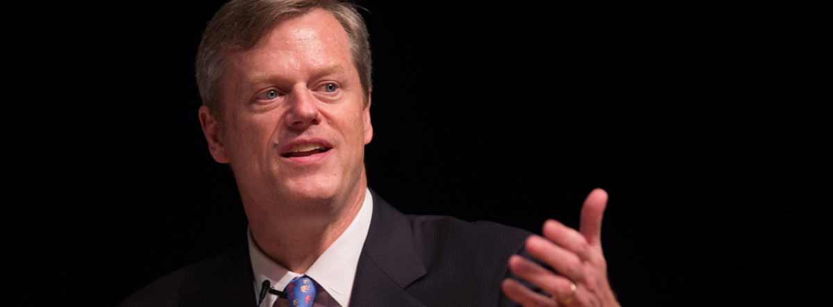 Republican Gubernatorial hopeful Charlie Baker participates in the 2014 Massachusetts Gubernatorial Forum on Mental Health in Boston, Wednesday, June 25, 2014, sponsored by The Massachusetts School of Professional Psychology. The intent of the forum was to create a dialogue around issues of mental health, focusing on veterans, teen suicide, the social impact of casino and marijuana legalization, and mental health care. Gretchen Ertl/AP Images for Massachusetts School of Professional Psychology.